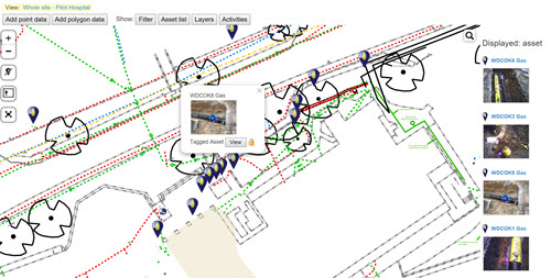 Underground assets on a site plan