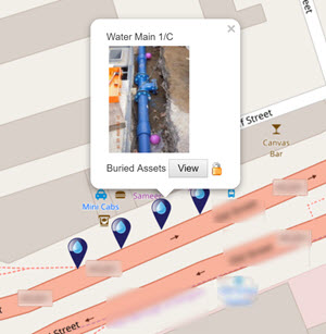 Water pipe being displayed on a map