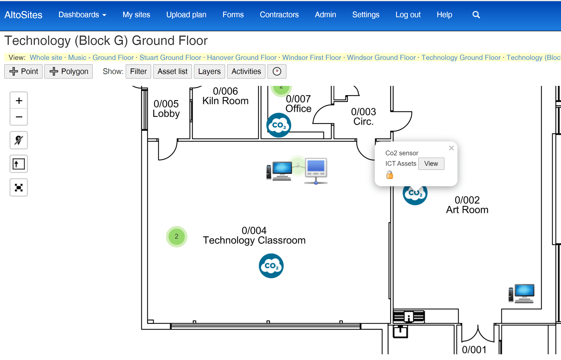 Locating CO2 monitors on floor plans